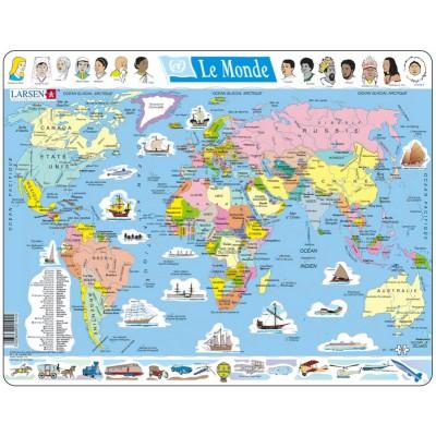 Larsen-K1-FR Rahmenpuzzle - Weltkarte (auf Französisch)