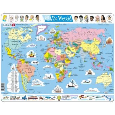 Larsen-K1-NL Rahmenpuzzle - De Wereld (Holländisch)