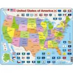 Larsen-K12-GB Rahmenpuzzle - United States of America (auf Englisch)