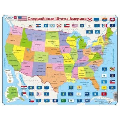 Larsen-K12-RU Rahmenpuzzle - Karte der Vereinigten Staaten (in Russisch)