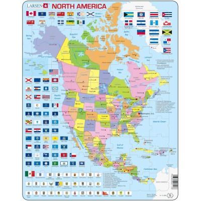 Larsen-K17-GB Rahmenpuzzle - Nordamerika (auf Englisch)