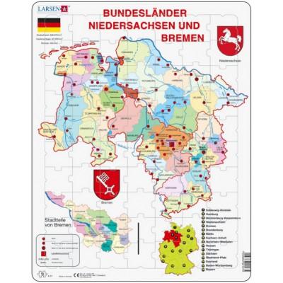 Larsen-K27-DE Rahmenpuzzle - Bundesland: Bremen and Niedersachen