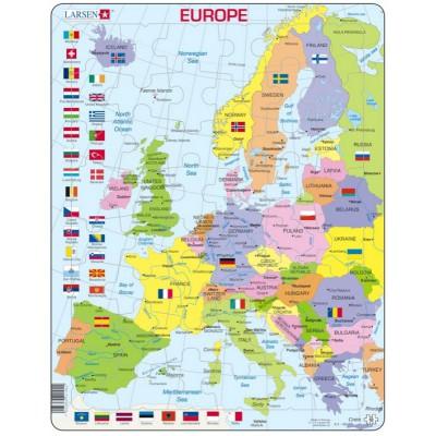 Larsen-K2T-GB Rahmenpuzzle - Europa (auf Englisch)