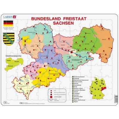 Larsen-K34-DE Rahmenpuzzle - Bundesland: Freistaat Sachsen