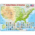 Larsen-K36-GB Rahmenpuzzle - United States of America (auf Englisch)