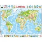 Larsen-K4-ES Rahmenpuzzle - El Mundo (auf Spanisch)
