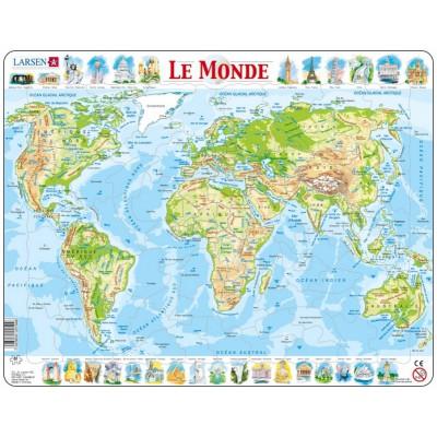 Larsen-K4-FR Rahmenpuzzle - Weltkarte (auf Französisch)