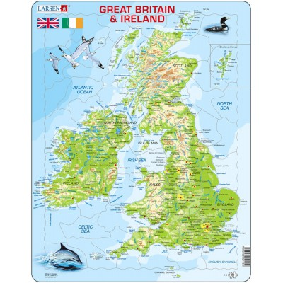Larsen-K5-GB Rahmenpuzzle - Great Britain & Ireland (auf Englisch)