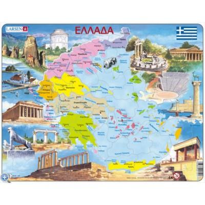 Larsen-K54-GR Rahmenpuzzle - Griechenland (auf Griechisch)