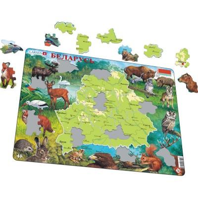 Larsen-K56-RU Rahmenpuzzle - Karte und Tierwelt von Belarus (Russisch)