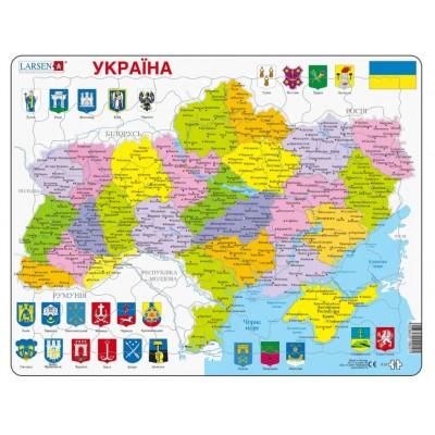 Larsen-K57-UA Rahmenpuzzle - Politische Karte der Ukraine
