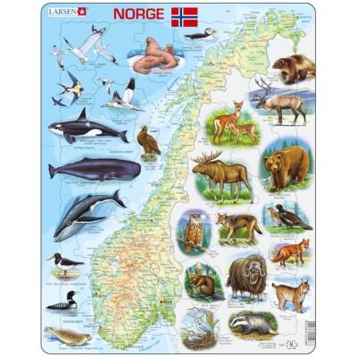 Larsen-K68 Rahmenpuzzle - Norwegen (auf Norwegisch)