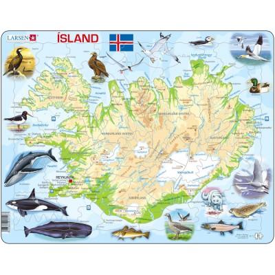 Larsen-K7-IS Rahmenpuzzle - Island (auf Isländisch)