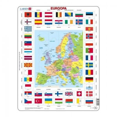 Larsen-KL1-EE Rahmenpuzzle - Karte und Flaggen von Europa (Estnisch)