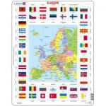 Puzzle  Larsen-KL1-FR Europakarte und Flaggen (auf Französisch)