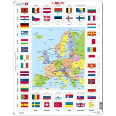 Larsen-KL1-GB Rahmenpuzzle - Europa (auf Englisch)