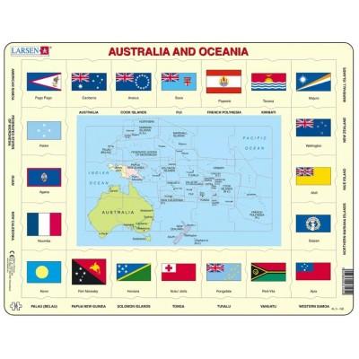 Larsen-KL5-GB Rahmenpuzzle - Australien und Ozeanien (auf Englisch)