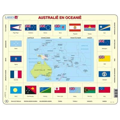 Larsen-KL5-NL Rahmenpuzzle - Australien und Ozeanien (auf Niederländisch)