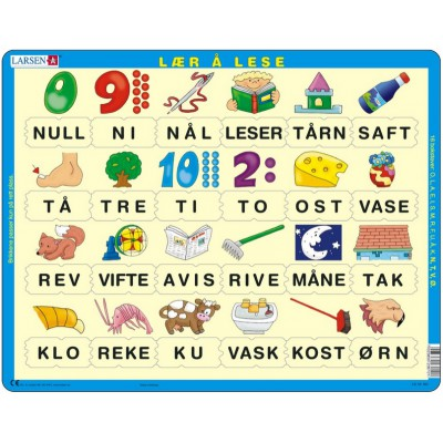 Larsen-LS10-NO Rahmenpuzzle - Norwegisch lesen lernen 2