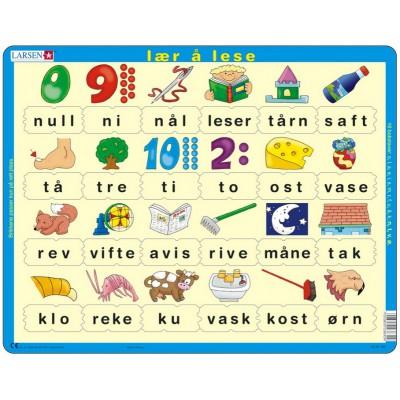 Larsen-LS30 Rahmenpuzzle - Lær å lese (små bokstaver) (auf Norwegisch)