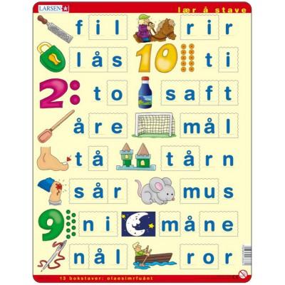 Larsen-LS36 Rahmenpuzzle - Lær å lese (små bokstaver) (auf Norwegisch)