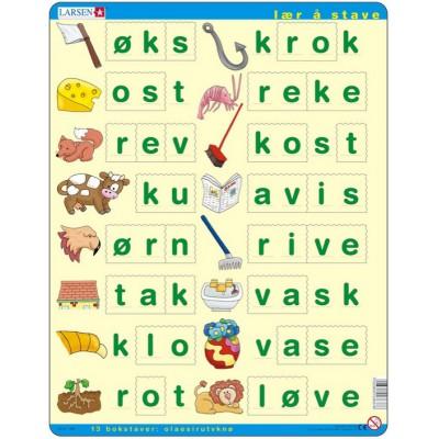 Larsen-LS37 Rahmenpuzzle - Lær å lese (små bokstaver) (auf Norwegisch)