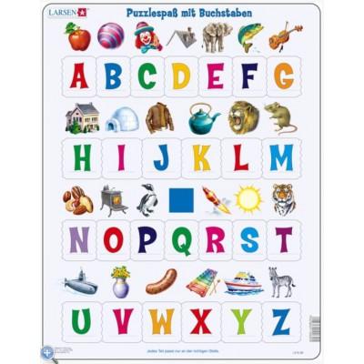 Larsen-LS826-DE Rahmenpuzzle - Puzzlespaß mit Buchstaben
