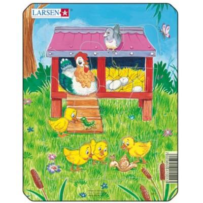 Larsen-M1-4 Rahmenpuzzle - Hühnerstall
