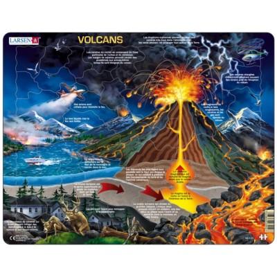 Larsen-NB2-FR Rahmenpuzzle - Volcans (auf Französisch)