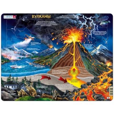 Larsen-NB2-RU Rahmenpuzzle - Vulkane (auf Russisch)