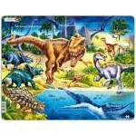 Larsen-NB3-RU Rahmenpuzzle - Dinosaurier (auf Russisch)