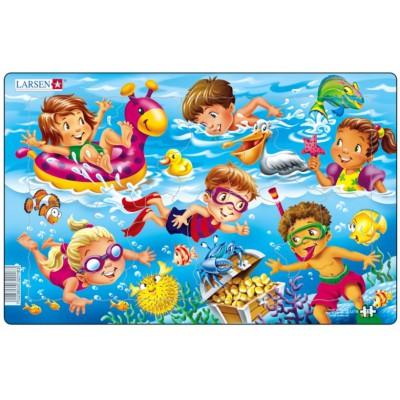 Larsen-U18-1 Rahmenpuzzle - Kinder am Meer