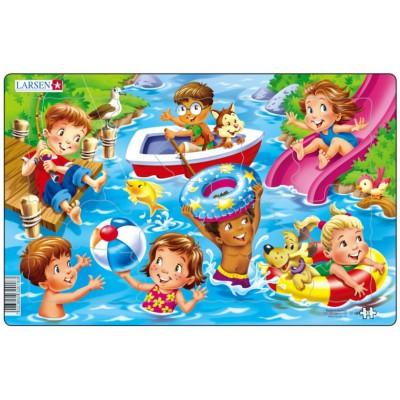 Larsen-U18-2 Rahmenpuzzle - Kinder am Meer