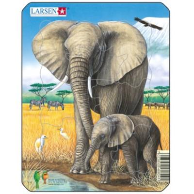 Larsen-V4-3 Rahmenpuzzle - Elefanten
