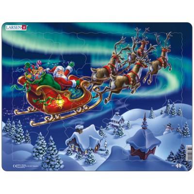 Larsen-XM1 Rahmenpuzzle - Weihnachtsmann im Nordlicht
