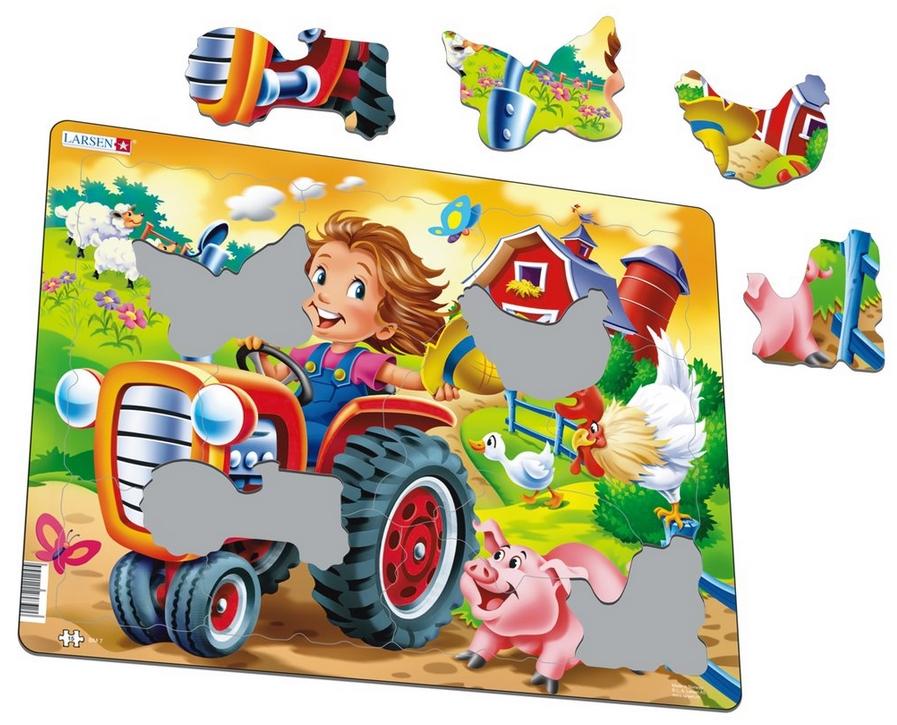 Rahmenpuzzle - Kinder auf dem Bauernhof Larsen-BM7 15 Teile Puzzle ...