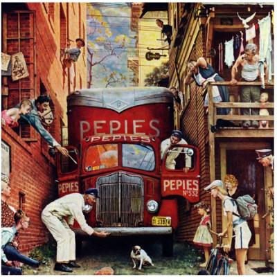 Puzzle  Master-Pieces-71367 Norman Rockwell: Die blokierte Straße