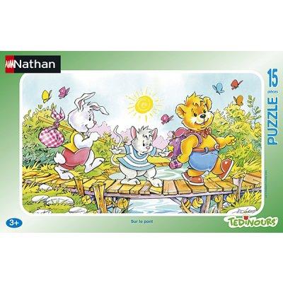 Nathan-86013 Puzzle 15 Teile Rahmenpuzzle - Teddybär: Auf der Brücke