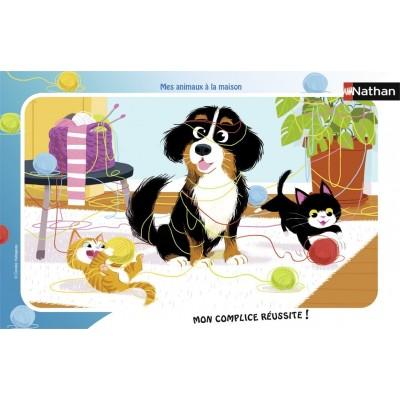 Nathan-86126 Rahmenpuzzle - Meine Haustiere zu Hause