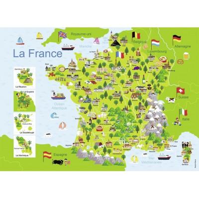Puzzle  Nathan-86732 Frankreichkarte