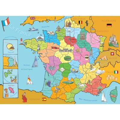 Puzzle  Nathan-86933 Karte von Frankreich