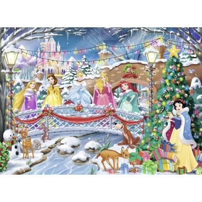 Puzzle  Nathan-87151 Weihnachten mit den Disney Prinzessinnen