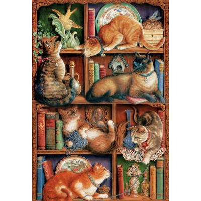 Puzzle Cobble-Hill-50710 Das Katzenbücherregal