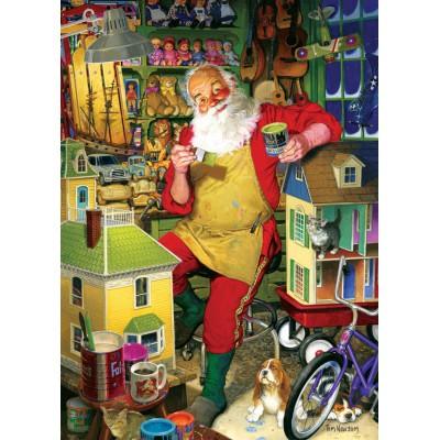 Puzzle  Cobble-Hill-51766-80077 Tom Newsom: Die Werkstatt des Weihnachtsmannes
