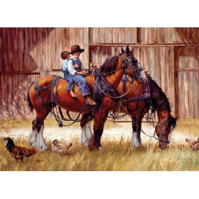 Puzzle  Cobble-Hill-57165 Kleine Cowboys