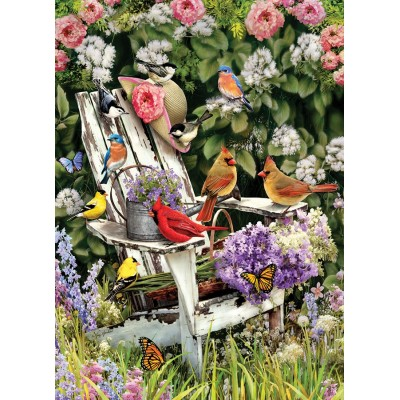Puzzle  Cobble-Hill-57191 Sommervögel auf dem Gartenstuhl