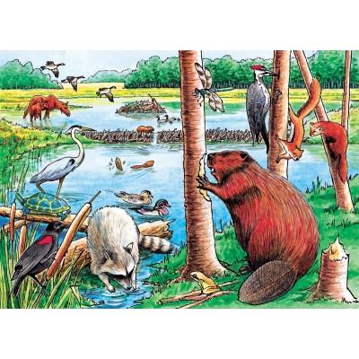 Cobble-Hill-58802 Rahmenpuzzle - Beaver Pond Tray Puzzle