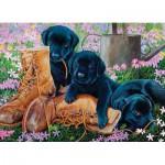 Puzzle  Cobble-Hill-58851 Schwarze Labradorwelpen