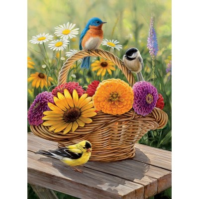Puzzle  Cobble-Hill-58886 Bluebird and Bouquet