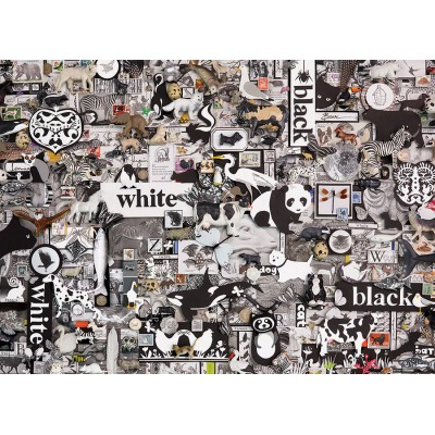 Puzzle  Cobble-Hill-80033 Black & White: Animals